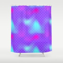 Violet and Blue Mermaid Tail Abstraction. Magic Fish Scale Pattern Shower Curtain