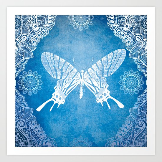 Bohemian Ornamental Butterfly Deep Blue Ombre Art Print