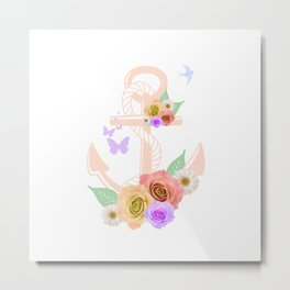 Pink Floral Anchor Metal Print