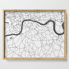 London White on Gray Street Map Serving Tray