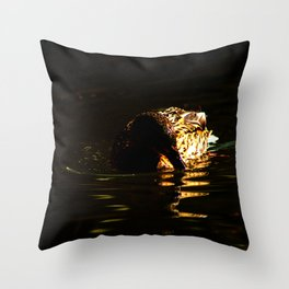The swimming duck Throw Pillow