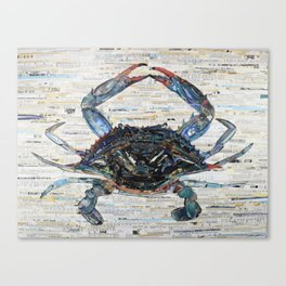 Blue Crab Collage by C.E. White Marine Life Canvas Print