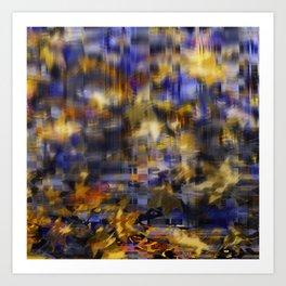 Falling leaves in town Art Print