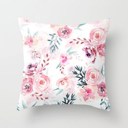Pink Watercolor Florals I Throw Pillow