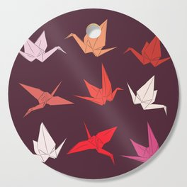 Japanese Origami paper cranes sketch, symbol of happiness, luck and longevity Cutting Board