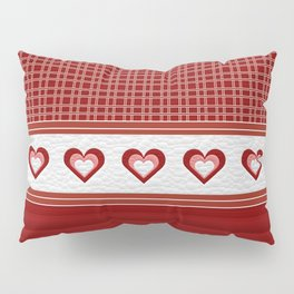 Decorative Quilted Heart Ribbon Multi Pattern Design Pillow Sham