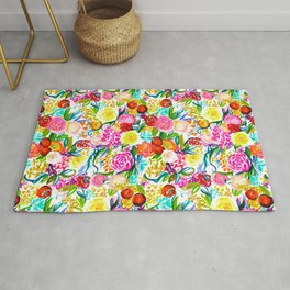 Neon Summer Floral (Smaller Print size) Rug