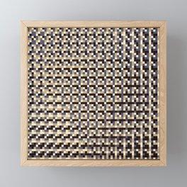 leigh - tan beige black ivory indigo geometric mosaic pattern Framed Mini Art Print