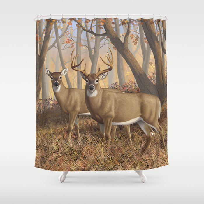 Whitetail Deer Trophy Buck And Doe In Autumn Shower Curtain By Csforest
