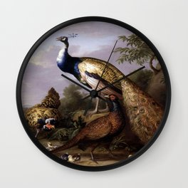 Tobias Stranover's Peacock, Hen and Cock Pheasant in a Landscape Wall Clock