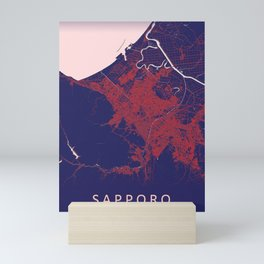 Sapporo, Japan, Blue, White, City, Map Mini Art Print