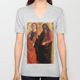 """Fra Filippo Lippi """"Saint Catherine and an evangelist"""" Unisex V-Neck"""