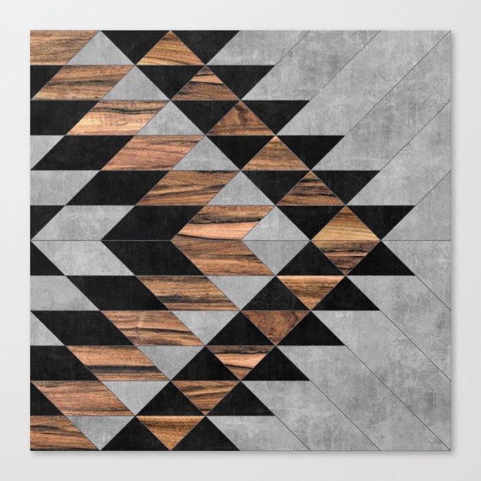 Urban Tribal Pattern No.10 - Aztec - Concrete and Wood Leinwanddruck