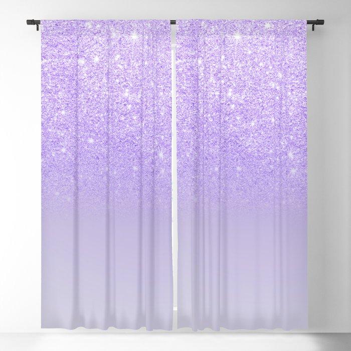 Modern Purple Sparkles Ombre Glitter, Purple Color Curtains