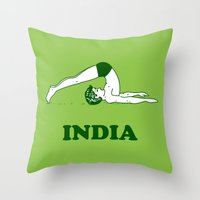 india Throw Pillows featuring India  by Tshirtbaba