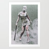 silent hill Art Prints featuring SILENT HILL ZOMBIE NURSE by PRINT ROYALE