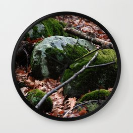 Moss Covered Rocks in Fall Forest Wall Clock