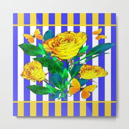 YELLOW SPRING ROSES & BUTTERFLIES WITH LILAC STRIPES Metal Print