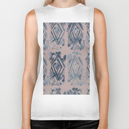 Simply Ikat Ink in Indigo Blue on Clay Pink Biker Tank