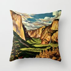 Yosemite National Park - Vintage Travel Throw Pillow