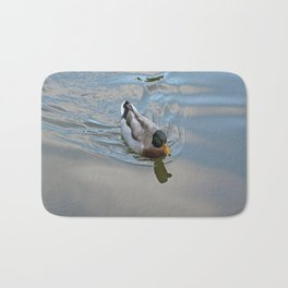Mallard duck swimming in a turquoise lake 1 Bath Mat