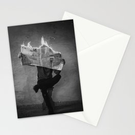 News on Fire (Baclk and White) Stationery Cards