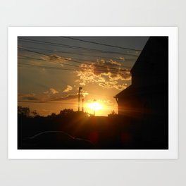 Urban City Sunset Art Print