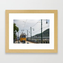 Yellow Budapest Tram Photography Framed Art Print