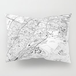 Vintage Map of Jersey City NJ (1967) BW Pillow Sham