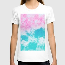 Pink and blue watercolor effect T-shirt
