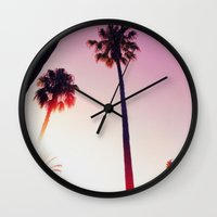 palm tree Wall Clocks featuring Palm tree by Emma.B