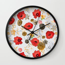 Jacque large print floral on gray Wall Clock