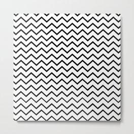 Zigzagged (Black & White Pattern) Metal Print
