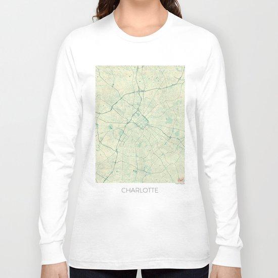 Charlotte Map Blue Vintage Long Sleeve T-shirt