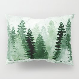 Pine Forest Watercolor Pillow Sham