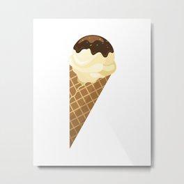 Chocolate and vanilla Ice Cream Cone Treat Metal Print