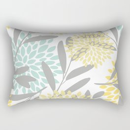 Floral Prints, Leaves and Blooms, Gray, Yellow and Aqua Rectangular Pillow