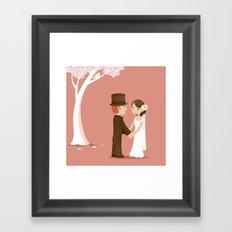 Wedding Under A Pink Tree Framed Art Print