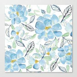 Blue flower garden watercolor Canvas Print