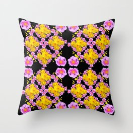 Black Roce & Yellow Color Pattern Floral Throw Pillow