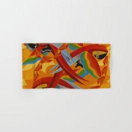 Scarlet Macaws (Parrots) by Giacomo Balla Hand & Bath Towel