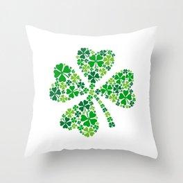 lucky four leaves clover Throw Pillow