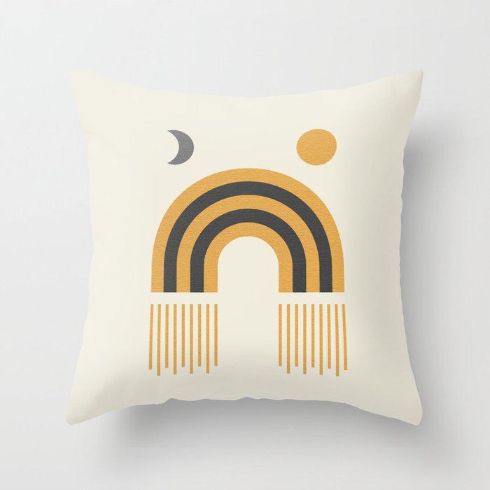 Sun and Moon Rainbow Midcentury style Throw Pillow
