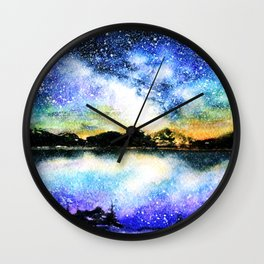 Starry night over the lake Wall Clock