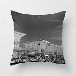 BEACH - California Beach Towers - Monochrome Throw Pillow