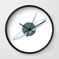 saturn Wall Clocks featuring Saturn by Andrew Formosa