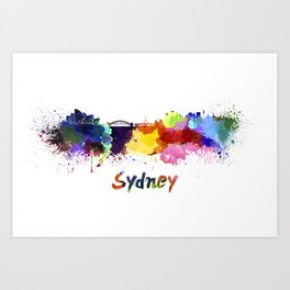 Sydney skyline in watercolor Art Print