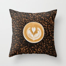 Coffee Beans & Coffee Cup Throw Pillow