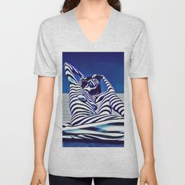 9135-KMA Blue Nude  Woman Striped with Shadow and Light Unisex V-Neck