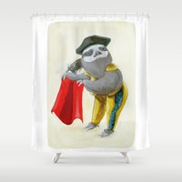 """sloths Shower Curtains featuring Sloths Are Bad At Things- Mario Lanza the Matador! by Megan """"Tillette"""" Jones"""